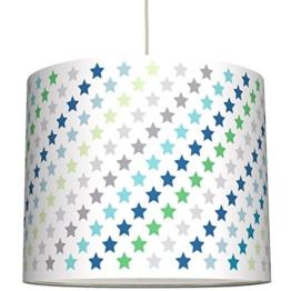 anna wand Lampenschirm STARS 4 BOYS TÜRKIS/GRÜN/GRAU - Schirm für Kinder / Baby Lampe mit Sternen in versch. Farben – Sanftes Licht für Tisch-, Steh- & Hängelampe im Kinderzimmer Mädchen & Junge - 1