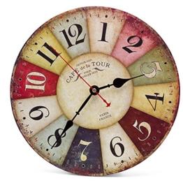 Asvert Wanduhr europäische Stil kreative Wanduhr farbenfrohe Holzuhr mit Arabischen Ziffern im Modernen Design Wohnzimmer Uhren Stumm Holz Hängende Uhren mode moderne Wanduhr Retro- Glocke, Ø: 34 cm - 1