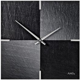 ausgefallene Wanduhr quadratisch aus dem Naturstoff Schiefer von AMS design mit Airbrush Technik veredelt; Farbe Silber / Schwarz analoge Hängeuhr in Steinoptik - 1