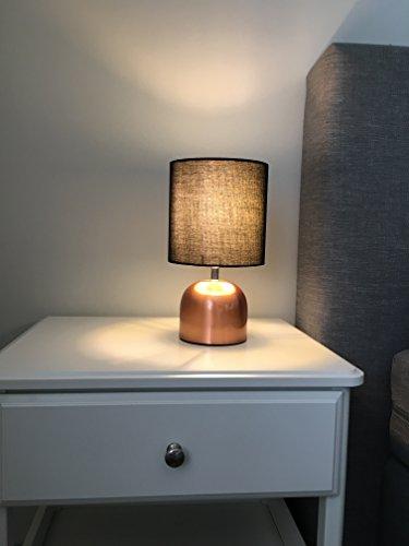 bada bing tischleuchte kupfer schwarz touch funktion klein leuchte stehlampe mit schirm ca cm. Black Bedroom Furniture Sets. Home Design Ideas