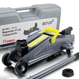 BITUXX® Hydraulischer Rangierwagenheber 2T flach Wagenheber hydraulisch 2 Tonnen Hubhöhe von 13,5 cm bis 33,5 cm inkl. Gummiauflage und stabilem Transportkoffer - 1