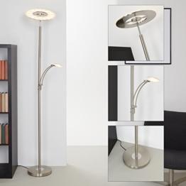 Briloner Leuchten LED Stehlampe mit Leselampe, Leuchtenkopf dimm- & schwenkbar, moderne Wohnzimmerlampe, runde Stehleuchte Wohnzimmer, 21 W + 3.5 W - 1