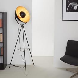 Briloner Leuchten LED Stehleuchte, Stehlampe, Studiolampe, Studioleuchte, Wohnzimmerlampe, Wohnzimmerleuchte, Max. 40W Vintage Lampe, Metall, E27, Schwarz-Gold-Matt, 160 x 72.3 x 160 cm - 1