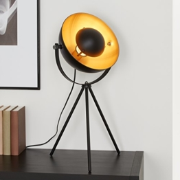 Briloner Leuchten Tischlampe Dreibein / Tripod; Metall, Retro-Lampe Schwarz & Gold, Vintage-Dekoration Wohnzimmer, Studio-Stehleuchte max. 60 W, E27 - 1