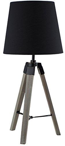 BRUBAKER Dreibein Tisch- oder Nachttischlampe 57 cm Holz Silbergrau / Schwarz - Designed in Germany - 1