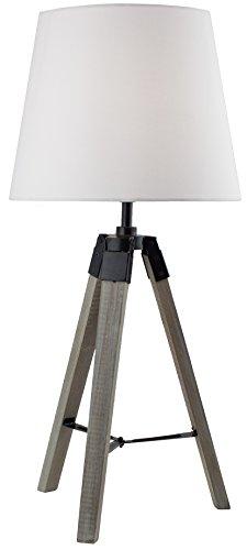 BRUBAKER Dreibein Tisch- oder Nachttischlampe 57 cm Holz Silbergrau / Weiß - Designed in Germany - 1
