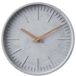 BUTLERS WALL COUTURE Wanduhr Beton Ø30cm - Holz, Polyresin - grau - - 1