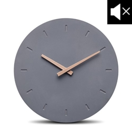 Cander Berlin MNU 6130 Designer Wanduhr aus Beton mit lautlosem Uhrwerk - 30,5 cm Ø - kein nerviges Ticken - 1