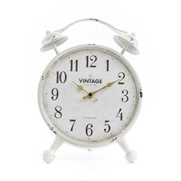 chickidee Homeware Vintage Bell stehend Uhr, Metall, weiß, 32x 6x 23cm - 1