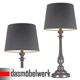 dasmöbelwerk LED Leuchte JORDI Tischlampe mit Schirm Lampe Stehleuchte 64 cm grau - 1