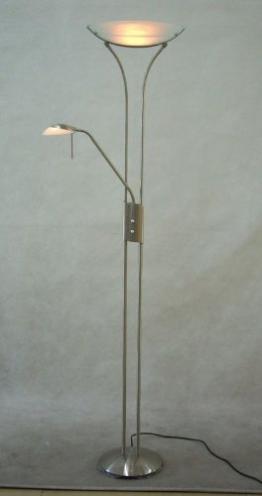 Deckenfluter mit Leselampe Leseleuchte Stehlampe Wohnzimmerlampe Stehleuchte mit Dimmer Glas (Standleuchte, dimmbar, Schlafzimmer Lampe, Standlampe, Höhe 183 cm, inkl. Leuchtmittel, warmweiß) - 1