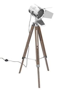 Design Stehlampe Tripod Stativlampe Höhenverstellbar Holz Metall Dimmbar Durch Metall-klappen Modern Wohnzimmer Dreibein Bodenlampe Retro Standleuchte Deckenfluter Spot LED Brillibrum Flyer - 1