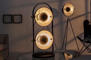 Design Tischlampe STUDIO 2 Lampenschirme schwarz silber Lampe mit Blattsilber Optik - 2