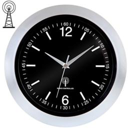Deuba® Funkwanduhr Analog ✔inkl. Batterie ✔nahezu geräuschlos ✔automatisch Zeitumstellung ✔großes Ziffernblatt Ø30cm ✔Farbe Schwarz / Silber - Quarz-Uhrwerk Wanduhr Funkuhr - 1