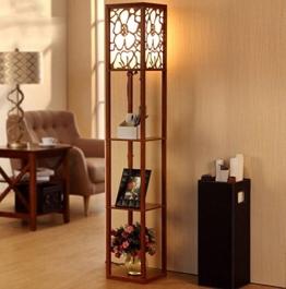 DGF Chinesische Art-Fußboden-Lampe, modernes Wohnzimmer-Schlafzimmer-Schreibtisch-Fußboden-hölzerne Fußboden-Fußboden-Lampe (L26cm * W26cm * H160cm) ( Farbe : Walnut Farbe ) - 1