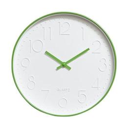 Dobess 12 Zoll Modern Quartz Lautlos Wanduhr Schleichende Sekunde ohne Ticken ( Grün ) - 1
