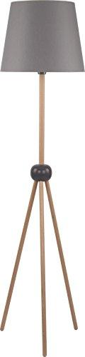 Dreibein Stehlampe Braun Grau Schwarz 158cm 3-beinig E27 Trichter Schirm Holzelemente Stativleuchte Stehleuchte Standleuchte - 1