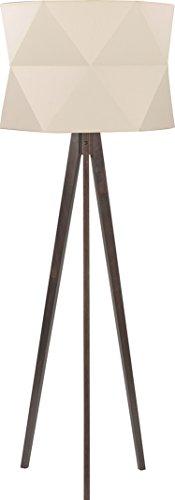 Dreibein Stehlampe Holz Braun Stoff Schirm Creme Skandinavisches Design H 140cm Holzbeine E27 Stehleuchte Standleuchte - 1
