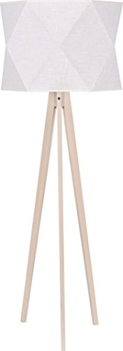 Dreibein Stehlampe Holz Hell Braun Stoff Schirm Creme Skandinavisches Design 140cm Holzbeine E27 Stehleuchte Standleuchte - 1