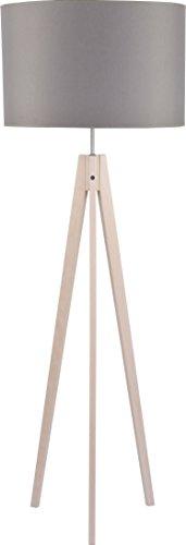 Dreibein Stehlampe Holzbeine Beige Stoff Schirm Grau H 140cm E27 Zylinder Stehleuchte Couch Wohnzimmer Standleuchte Standlampe - 1