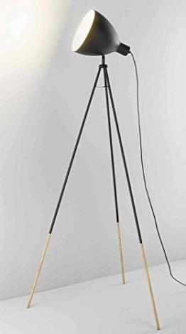 Dreibein Stehlampe Stehleuchte Standleuchte BONGO | 145 cm hoch | Metall | Holz | Schwarz | ohne Leuchtmittel - 1