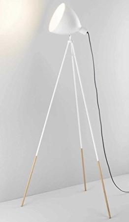Dreibein Stehlampe Stehleuchte Standleuchte BONGO | 145 cm hoch | Metall | Holz | Weiß | ohne Leuchtmittel - 1