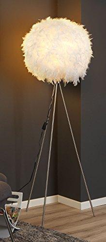 Dreibein Stehlampe Stehleuchte Standleuchte DUCKY 1 | ca. 150 cm hoch | Weiß | Papier | Entenfedern - 1
