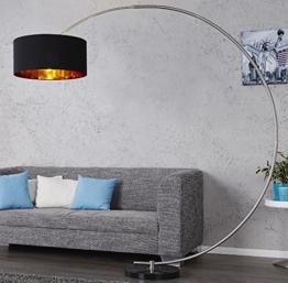 DuNord Design Bogenlampe Stehlampe WESTEND schwarz gold m. Dimmer Marmor Lounge Design Lampe - 1