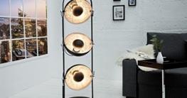 DuNord Design Stehlampe Stehleuchte CINEMA schwarz silber 3er Retro Design Lampe Spotleuchte - 1