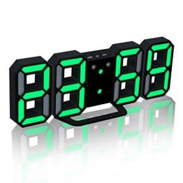 EAAGD Digital-LED-Wecker & Wanduhr, automatisch LED Helligkeit einstellen (schwarz/grün) - 1