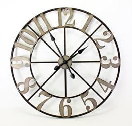 Edle XXL Wanduhr Castello 80cm Metall Braun Schwarz Uhr Antik Rom Italien - 1