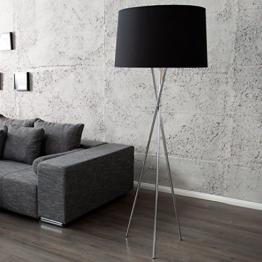 Elegante Design Stehlampe CLASSIQUE 165cm schwarz drei Beine Chrom Stehleuchte - 1
