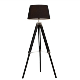 Elegante Design Stehlampe SYLT mit hochwertigem schwarzen Gestell und Leinenschirm höhenverstellbar Stehleuchte Wohnzimmerlampe - 1