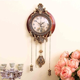 Europ?ische klassische Wohnzimmer Wanduhr stille Wohnzimmer Metall Holz urspr¨¹ngliche Bewegung Uhr mit Pendel - 1