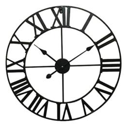 Eurosell - Riesige 60cm Metall Wanduhr - Römisch - Designer Uhr - XXL - Römisches Ziffernblatt schwarz - 1