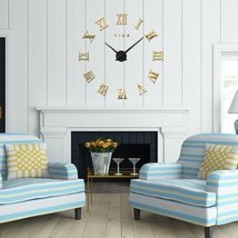 FAS1 Moderne DIY Große Wanduhr Big Armbanduhr Aufkleber 3D Spiegel Aufkleber Römischen Ziffern Wanduhr Home Office Abnehmbarer Dekoration (Akku Nicht Enthalten) Gold - 1