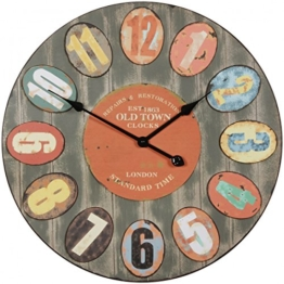 FineBuy Deko Vintage Wanduhr XXL Ø 60 cm London Old-Town Metall bunt | Große Uhr rustikal Dekouhr rund | Design Retro Küchenuhr für Küche & Wohnzimmer - 1