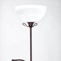 Fluter mit Lesearm im Landhausstil | Deckenfluter dimmbar | Fluter inklusive Gratis Taschenlampe | Stehlampe 1xE14 - 1xE27 - 1
