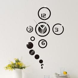 Forepin® DIY Wanduhr Moderne 3D Wandtattoo mit Spiegel Design Dekoration Clock Uhr für Öffentliche Wohnzimmer Büro Schlafzimmer Studierzimmer - Schwarz - 1