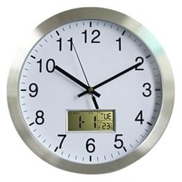 Funkwanduhr, Foxom Modern Quartz 12Zoll/30CM Funk Wanduhr Funkuhr mit Kalender und Hygrometer für Wohnzimmer, Küche, Büro - 1