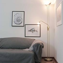 Geschmackvolle Stehleuchte in Messing matt Alabaster 1x R7S bis zu 230 Watt 230V aus Metall & Glas mat Dimmer Stehleuchte mit Lesearm Deckenfluter mit Dimmer Halogen - 1