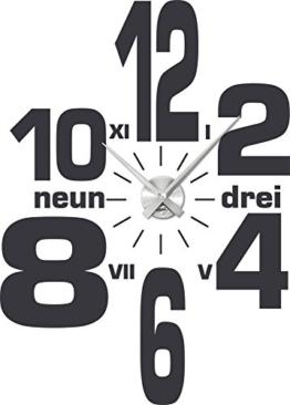 Graz Design 800001_AL_073 Wandtattoo Uhr mit Uhrwerk Wanduhr Design Wirrwarr aus Zahlen Deko fr Wohnzimmer (Uhr gebrstet Silber /Aufkleber Dunkelgrau) - 1