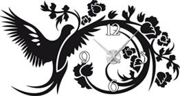 Graz Design 800009_AL_070 Wandtattoo Uhr mit Uhrwerk Wanduhr Design Vogel mit Blumen Deko fr Wohnzimmer (Uhr Silber gebrstet /Aufkleber Schwarz) - 1