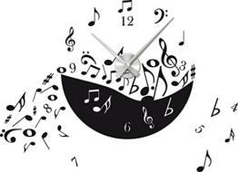 Graz Design 800010_AL_070 Wandtattoo Uhr mit Uhrwerk Wanduhr Design Musik - Noten Noten - Chaos Deko fr Wohnzimmer (Uhr Silber gebrstet /Aufkleber Schwarz) - 1