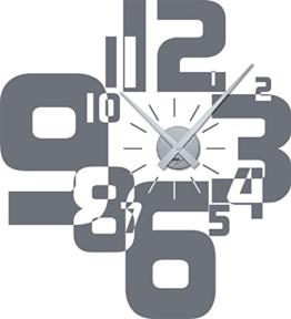 Graz Design 800066_silb_071 Wandtattoo Uhr Wanduhr moderner Zahlenmix - Wohnzimmer (Uhr Silber/Aufkleber Grau) - 1