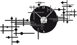 Graz Design 800154_AL_070 Wandtattoo Uhr Wanduhr modern modernes Industrie Design Deko für Wohnzimmer (Uhr Silber gebürstet /Aufkleber Schwarz) - 1