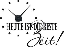 Graz Design 800161_BK_070 Wandtattoo Uhr Wanduhr modern Spruch Heute ist die Beste Zeit Deko fr Wohnzimmer (Uhr Schwarz/Aufkleber Schwarz) - 1