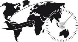 Graz Design 800321_AL_070 Wandtattoo Uhr Wanduhr Welt Weltkarte Flugzeug Erde (Uhr Silber gebrstet /Aufkleber Schwarz) - 1