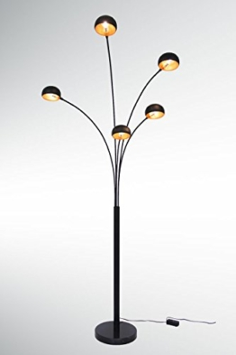 große Five Fingers Bogenlampe, Top Quality, mattschwarz & Kupfer, 225cm hoch - 1