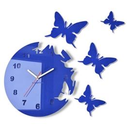 Große moderne Wanduhr Schmetterling Blau rund 30cm, 3d DIY, Wohnzimmer, Schlafzimmer, Kinderzimmer - 1